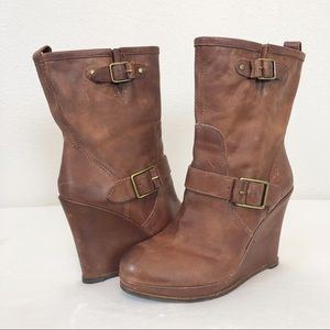 Lucky Brand Wedge Boots Brown Leather sz 8.5